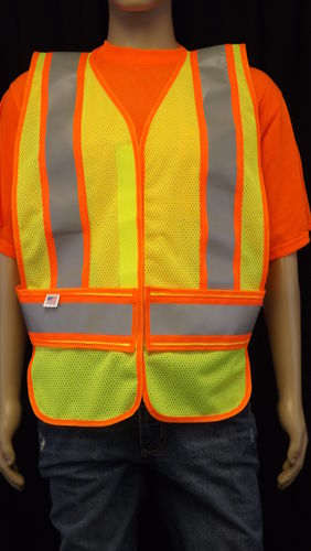 Ameri-Viz ANSI CLASS 2 LIME WITH ORG AND SILVER REF. ADJ SIZE L/XL