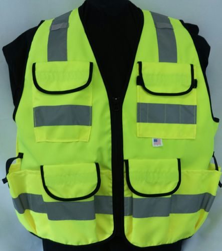 "Ameri-Viz LIME ""TACTICAL"" VEST/11 POCKETS/ZIPPER"