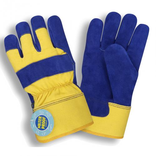 BLUE SPLIT LEATHER PALM, YELLOW CANVAS BACK, M