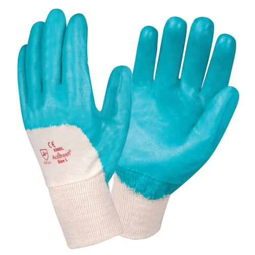 CORDOVA BRAWLER LITE™ PREMIUM DIPPED NITRILE, ULTRA-LIGHT PALM COATED, INTERLOCK LINED, KNIT WRIST, SANITIZED® S