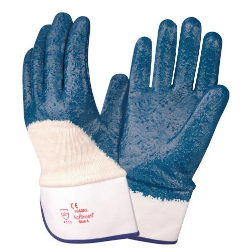 CORDOVA BRAWLER™ PREMIUM DIPPED NITRILE, ROUGH PALM COATED,  JERSEY LINED, SAFETY CUFF, SANITIZED®