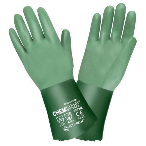 CORDOVA CHEM-COR™ GREEN DOUBLE DIPPED NEOPRENE, SANDPAPER GRIP, INTERLOCK LINED, 14-INCH L