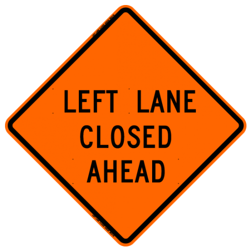 MTS SAFETY 36 LEFT LANE CLOSED AHEAD W/RIBS VINYL