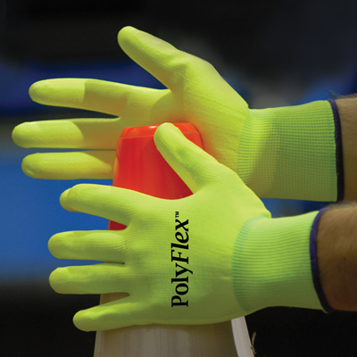 NS® PolyFlex™ Hi-Vis Lime Polyurethane Palm Coated Nylon Gloves