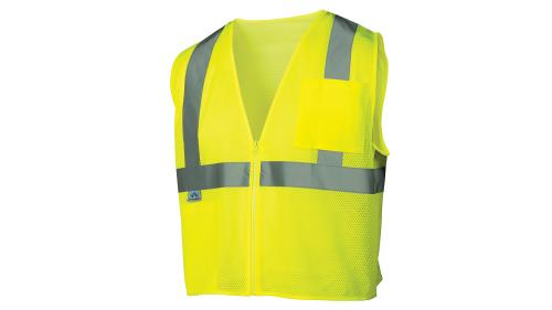 Pyramex CLASS 2/LEVEL 2 HI-VIS LIME SAFETY VEST X-LARGE