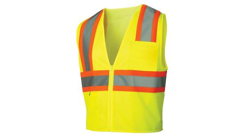 Pyramex CLASS 2 HI-VIS LIME ZIPPER VEST MEDIUM