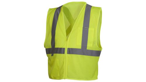 Pyramex RCZ2110   CLASS 2 HI VIS LIME SAFETY VEST MEDIUM