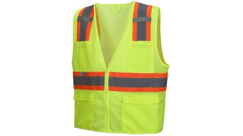 Pyramex RVZ23 SERIES CLASS 2 HI-VIS LIME SAFETY VEST SMALL