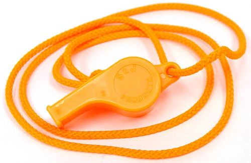 WHISTLE WITH NECK CORD ORANGE